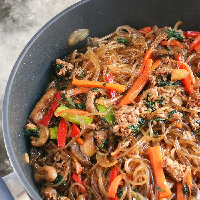 japchae in a pot