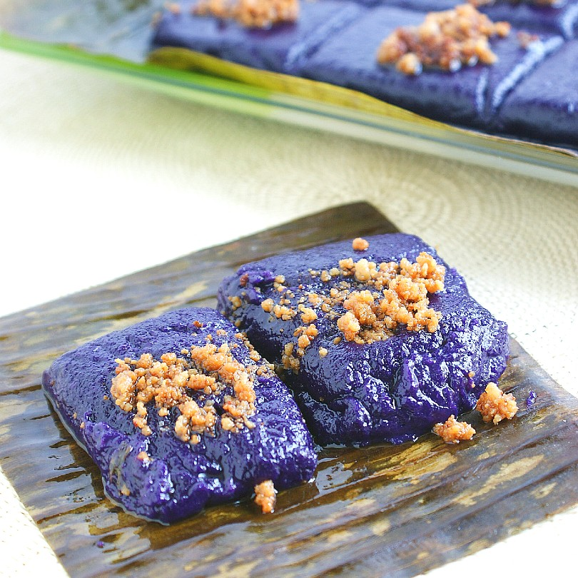 taro ube kalamay on top of table