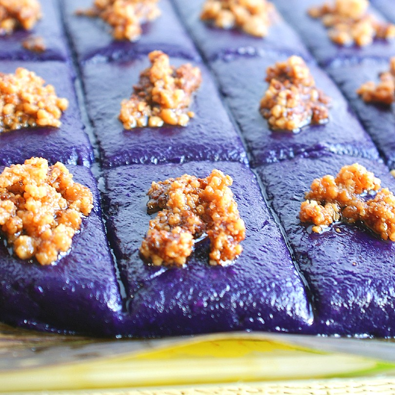 taro ube kalamay on banana leaves