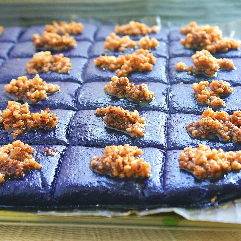 taro ube kalamay with latik
