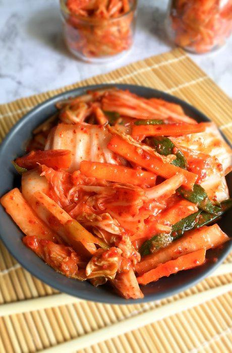 homemade kimchi andchopsticks