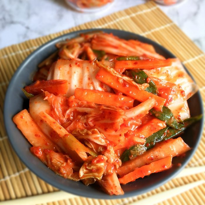 homemade kimchi on table