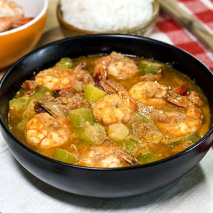 sour fruit and shrimps stew in a bowl