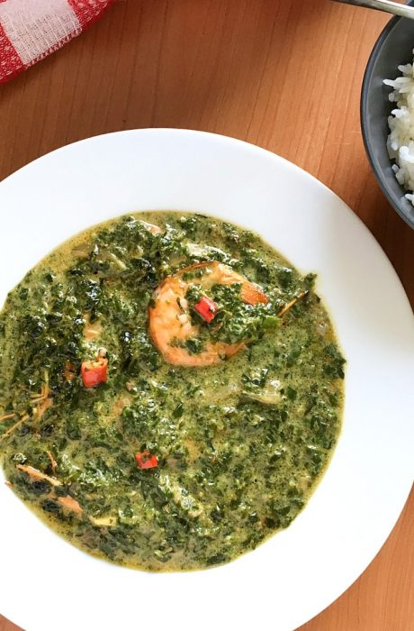 spinach on table with rice