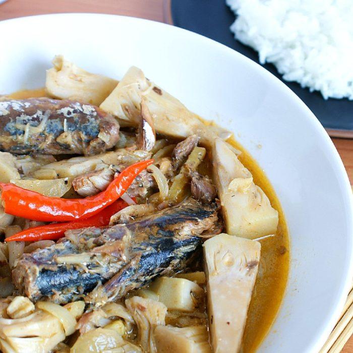 ginataang langka with sardines with rice
