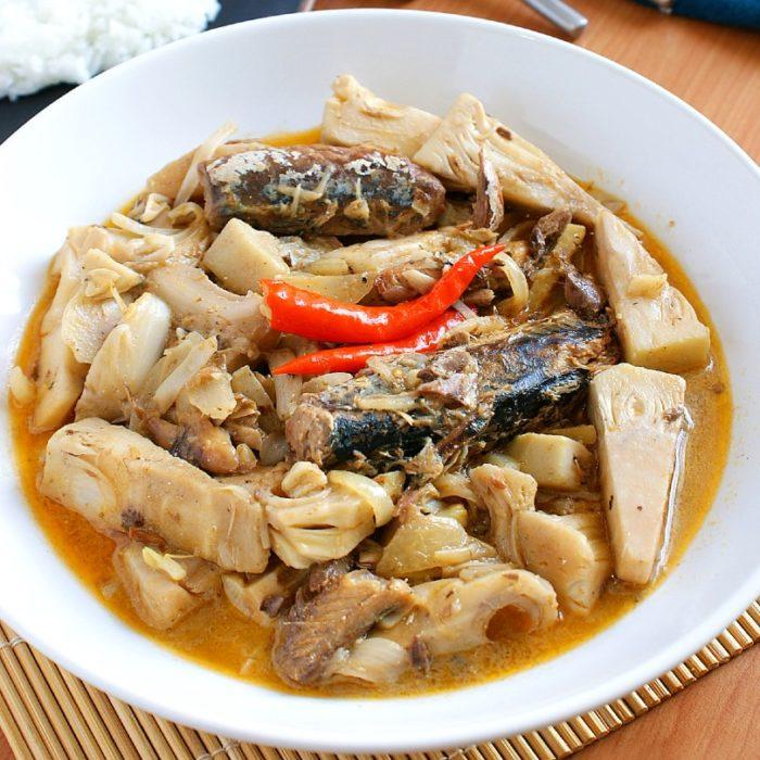 ginataang langka with sardine in a bowl