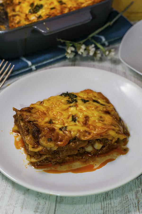 pasta lasagna casserole in a plate