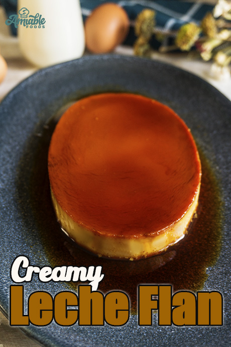 creme caramel serve in a plate with flowers on the side