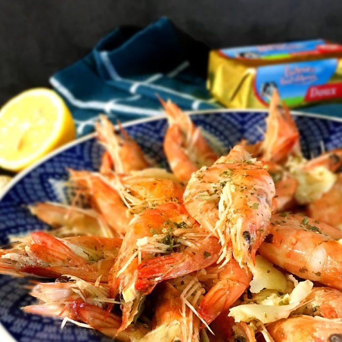 lemongarlic butter shrimp in a bowl