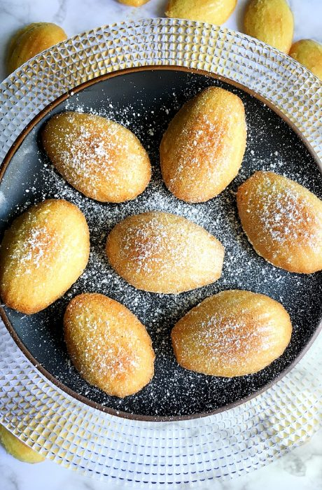 french madeleines on cake stand