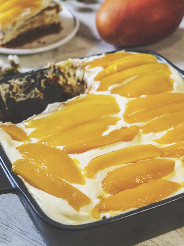 mango dessert in a dish on top of table