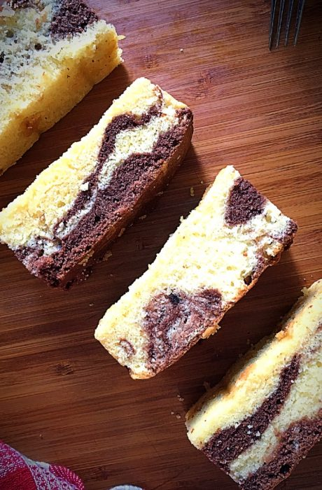marble butter cake sliced