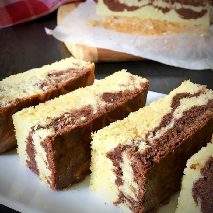 marble butter cake on plate