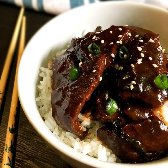 mongolian beef on top of rice