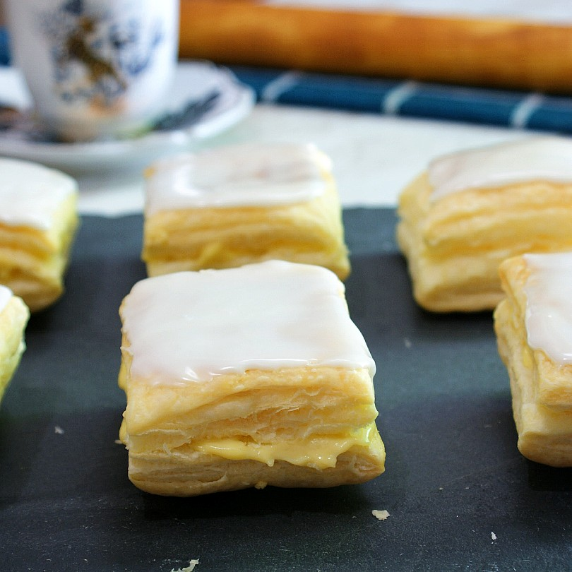 napoleones with sugar glazing on top