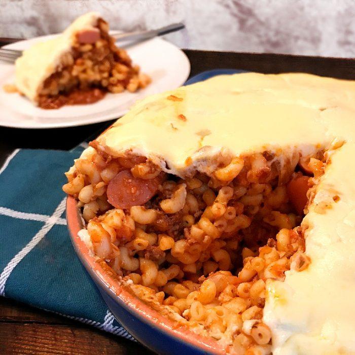 no bake macaroni with meaty tomato sauce