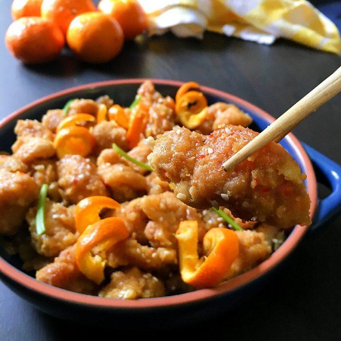 orange chicken chopsticks