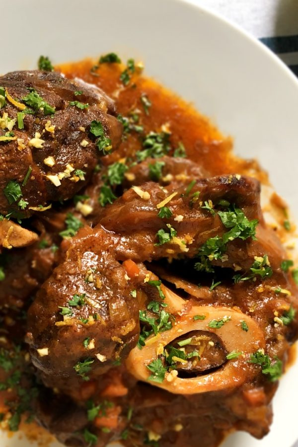 osso buco on plate with parsley