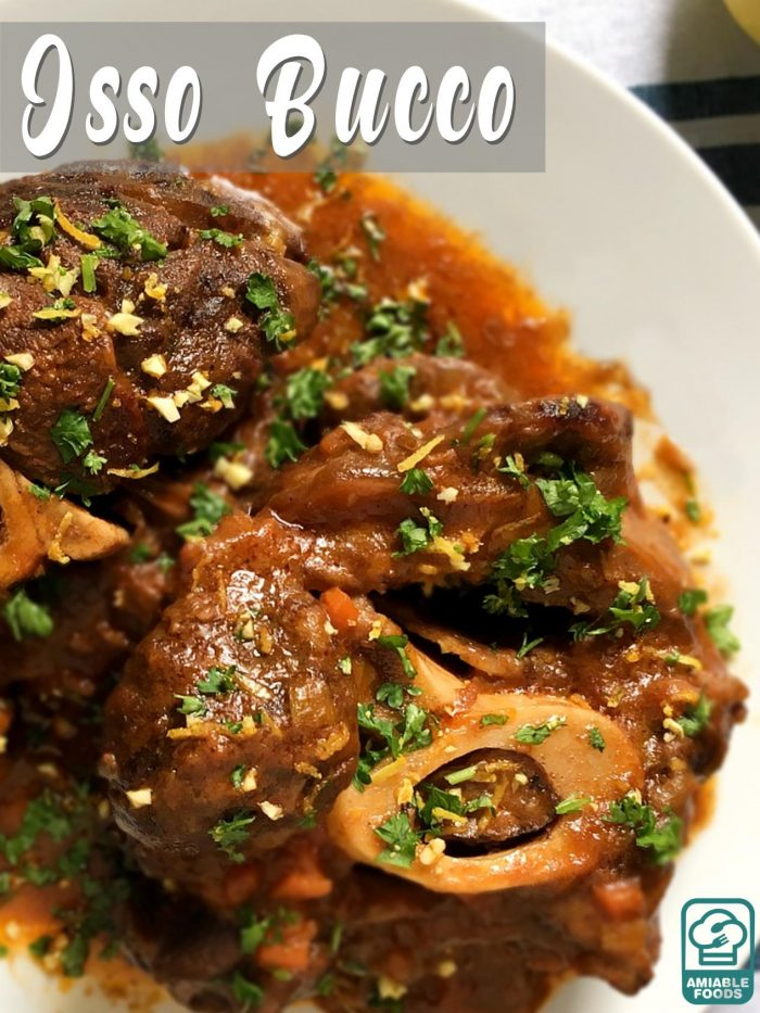 osso buco garnished with parsley