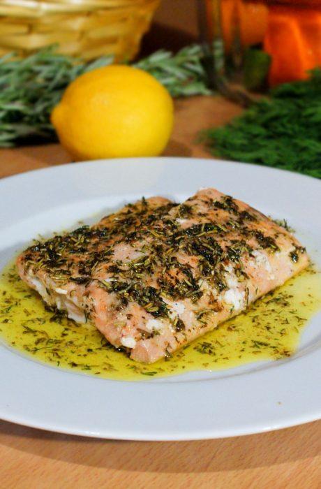 seared salmon with fresh herbs