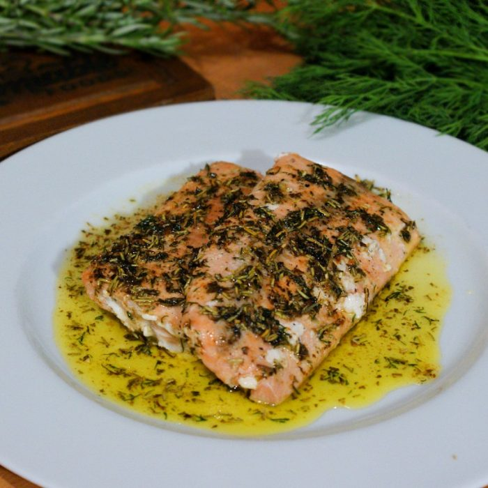 pan-seared salmon cooked with herbs