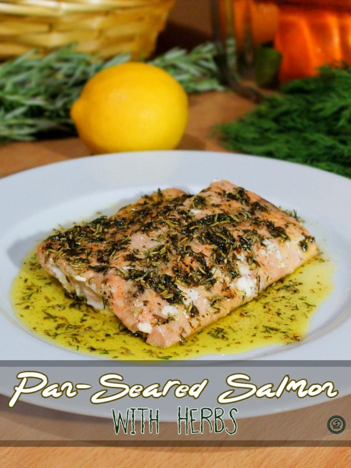 pan-seared salmon cooked in butter with herbs