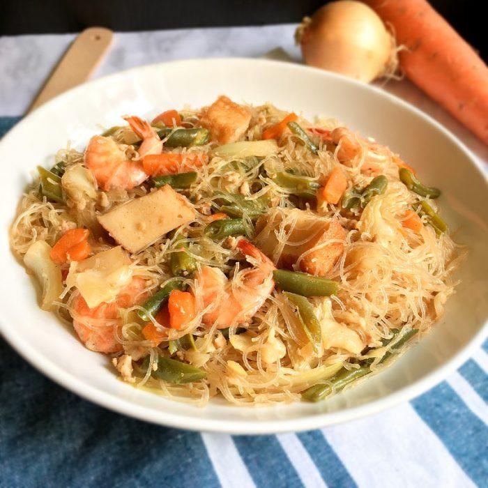 pancit bihon on a serving dish