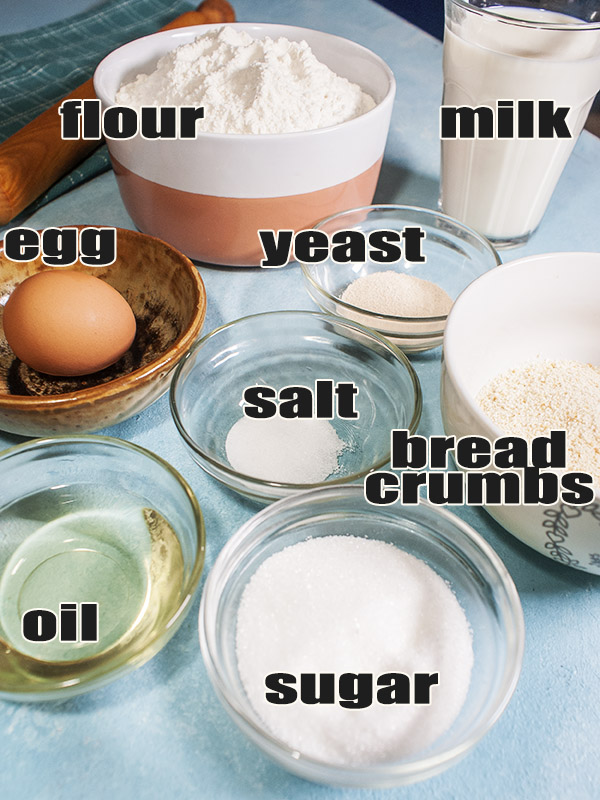 ingredients for bread roll on top of table