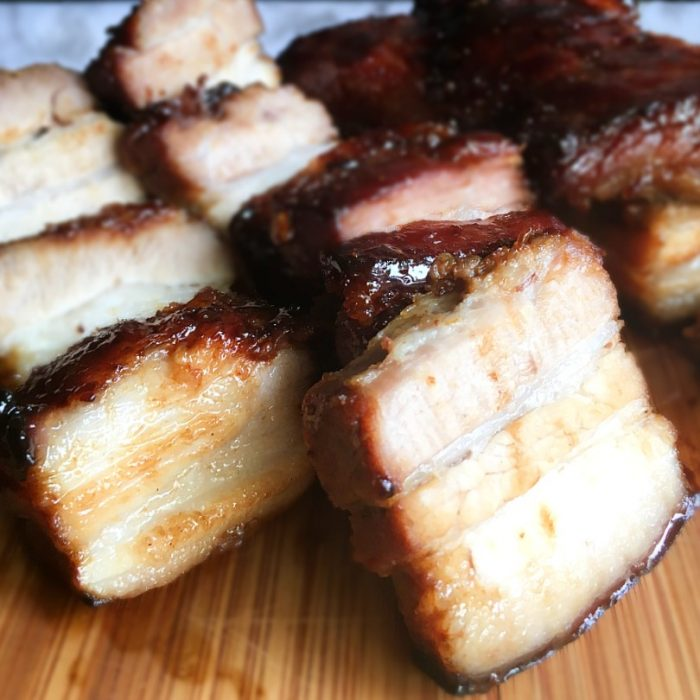 pork char siu sliced