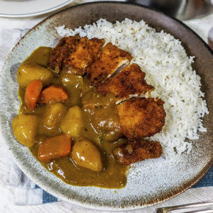 pork cuts with rice in a plate