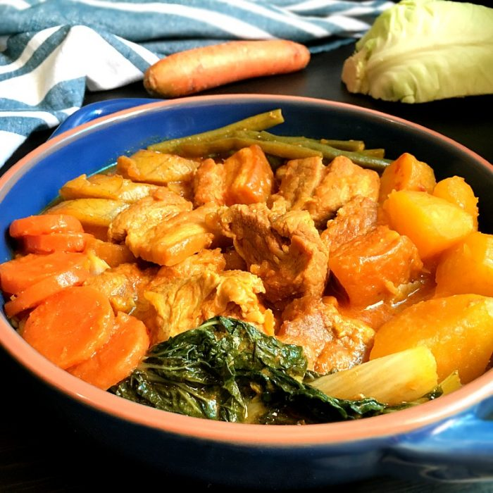 pork pochero with plantains and carrots