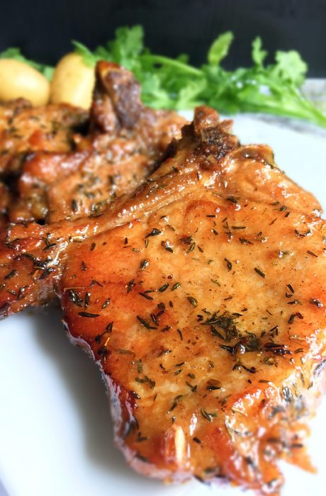 honey glazed pork chops on table