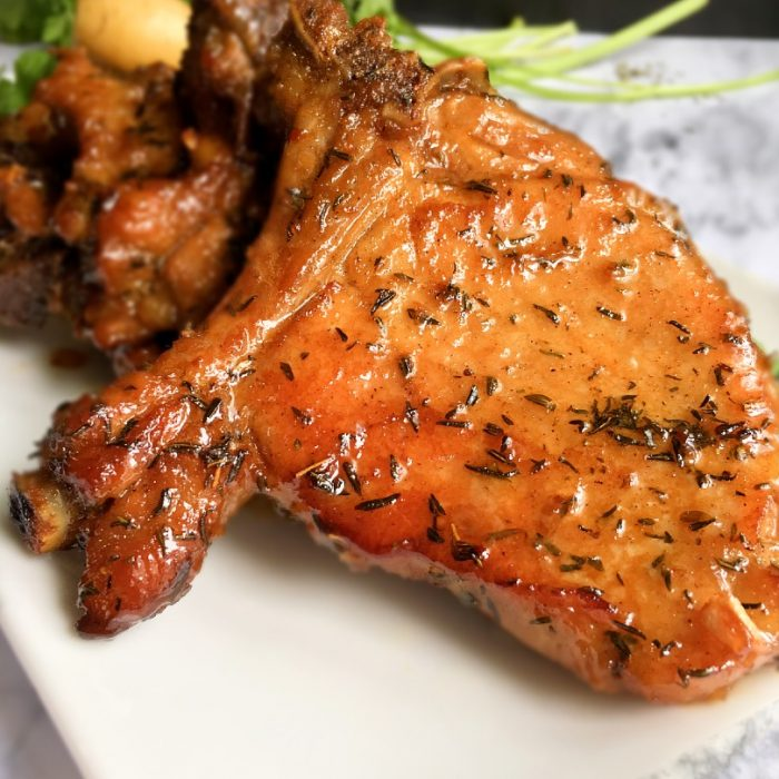 honey glazed pork chops with thyme