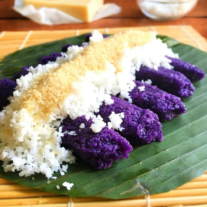 puto bumbong on banana leaf