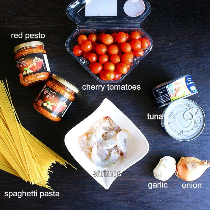 red tuna pesto pasta ingredients