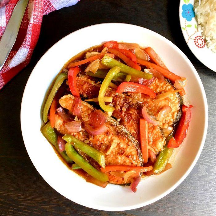 salmon escabeche on a plate
