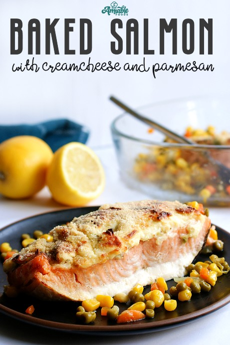 baked salmon with cream cheese and parmesan pinterest image