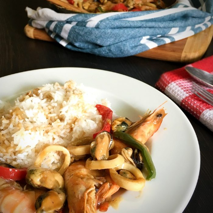 seafood salpicao with rice