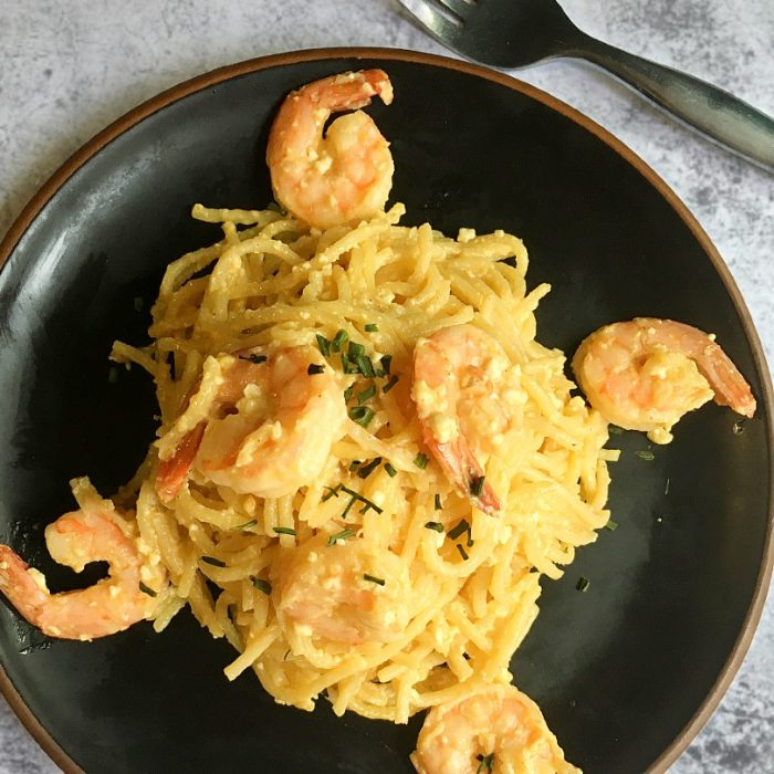 salted egg pasta with shrimps
