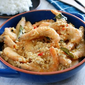 salted egg shrimp recipe photo