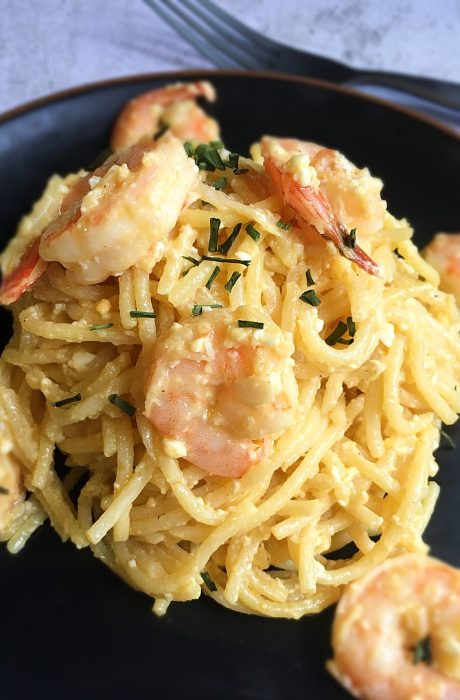 salted egg pasta on table