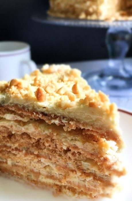 sans rival on a plate and coffee