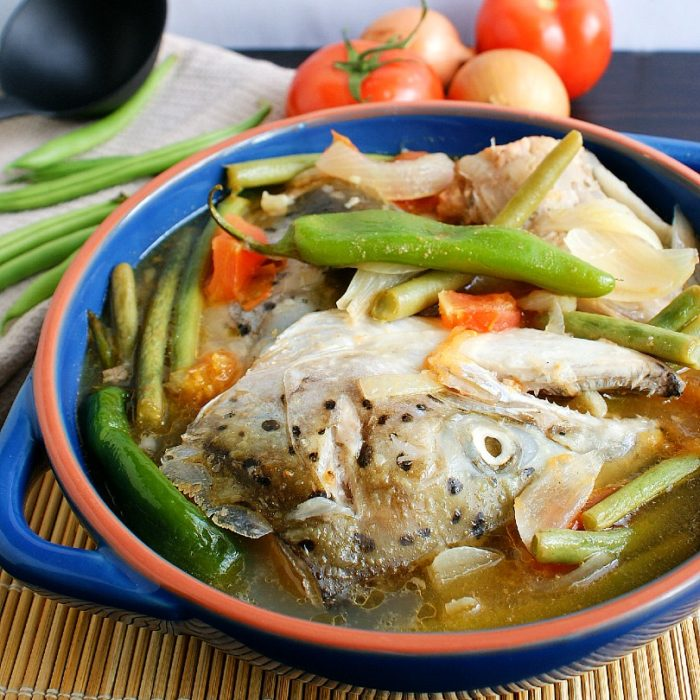 sinigang na salmon sa miso in a bowl