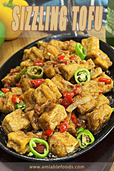 hot sizzling plate with tofu and chilies