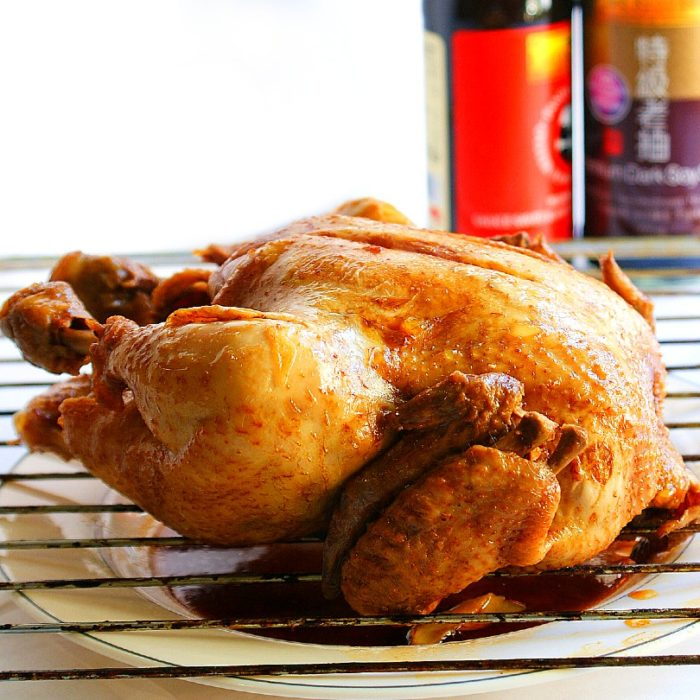 soy sauce chicken on colling rack