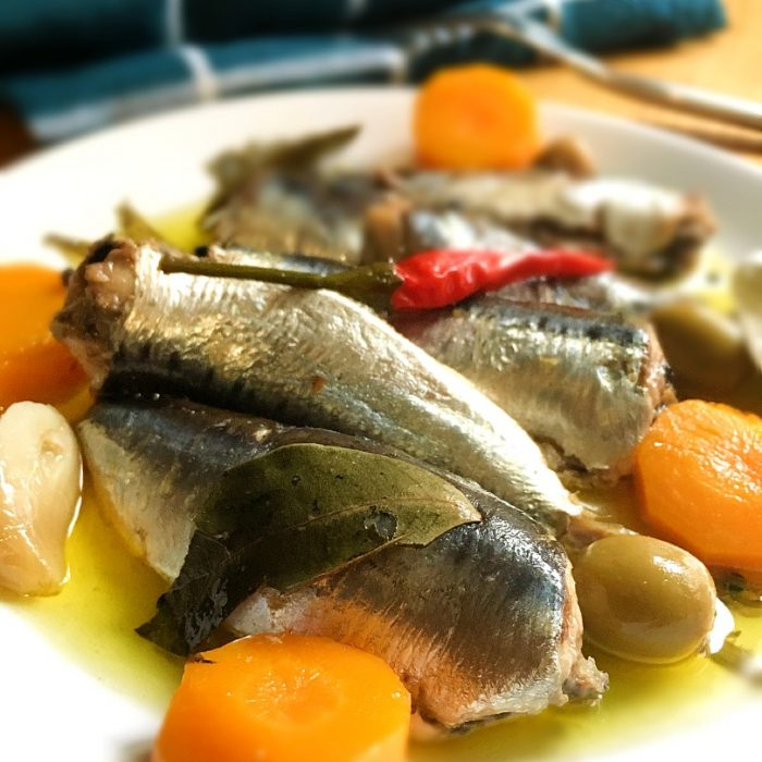 homemade spanish sardines with olives and carrots