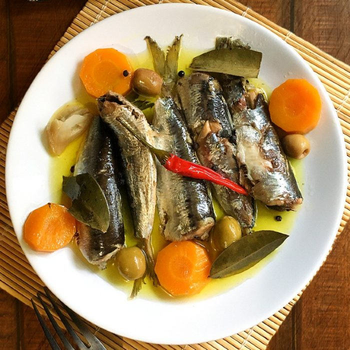 homemade spanish sardines on a plate