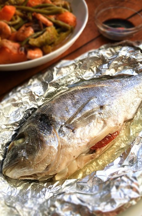 steamed fish stuffed with herbs