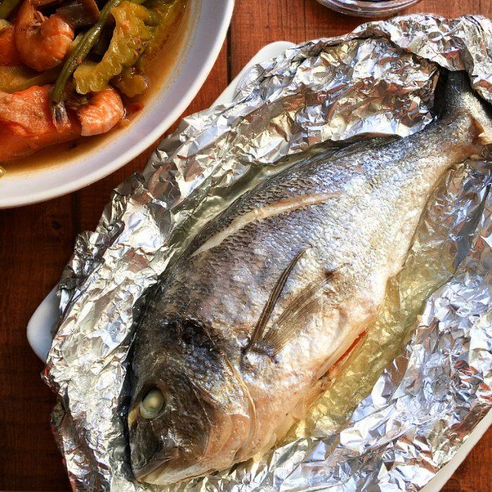 steamed stuffed dorade fish