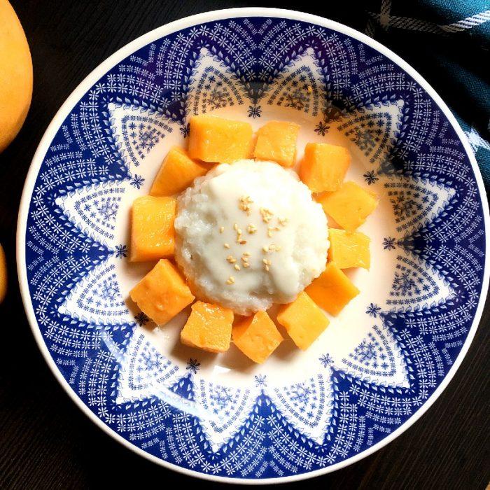 mango sticky rice in a bowl